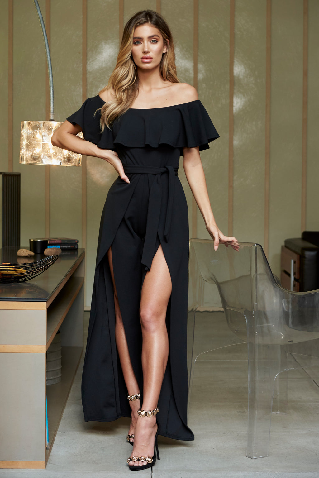 Black Bardot Frill Detail Split Leg Jumpsuit