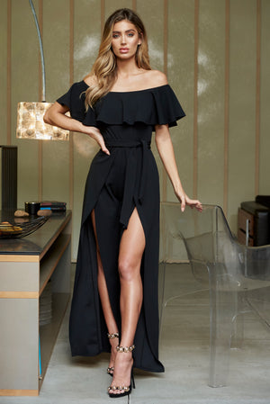 Black Bardot Frill Detail Split Leg Jumpsuit - Club L London