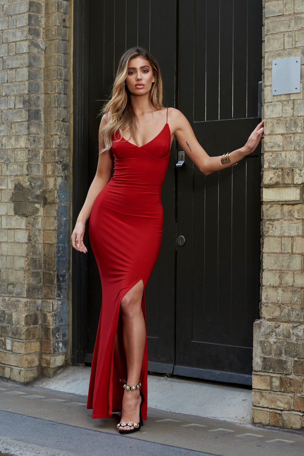 Red Cami Strap Maxi Dress With Thigh Split