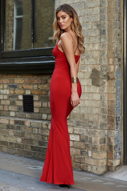 71417079854 Red Cami Strap Maxi Dress With Thigh Split