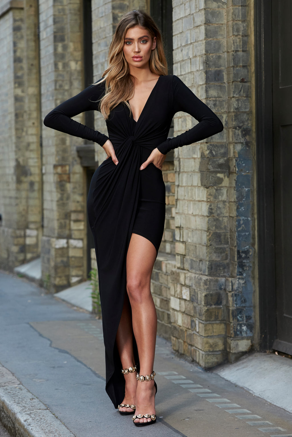 Black Slinky Knot Asymmetric Maxi Dress - Club L London