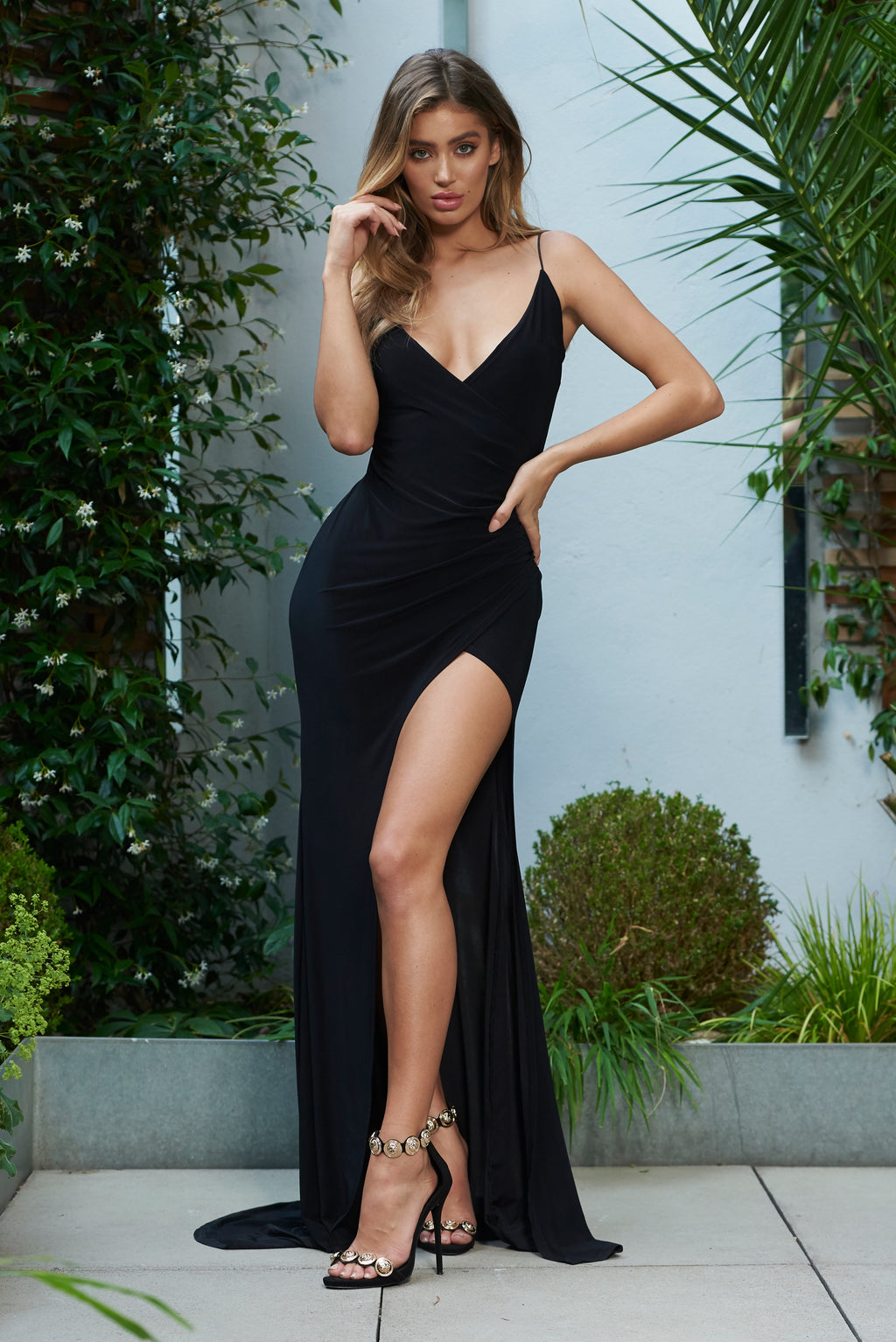 Black Wrap Front Slinky Fishtail Split Maxi Dress