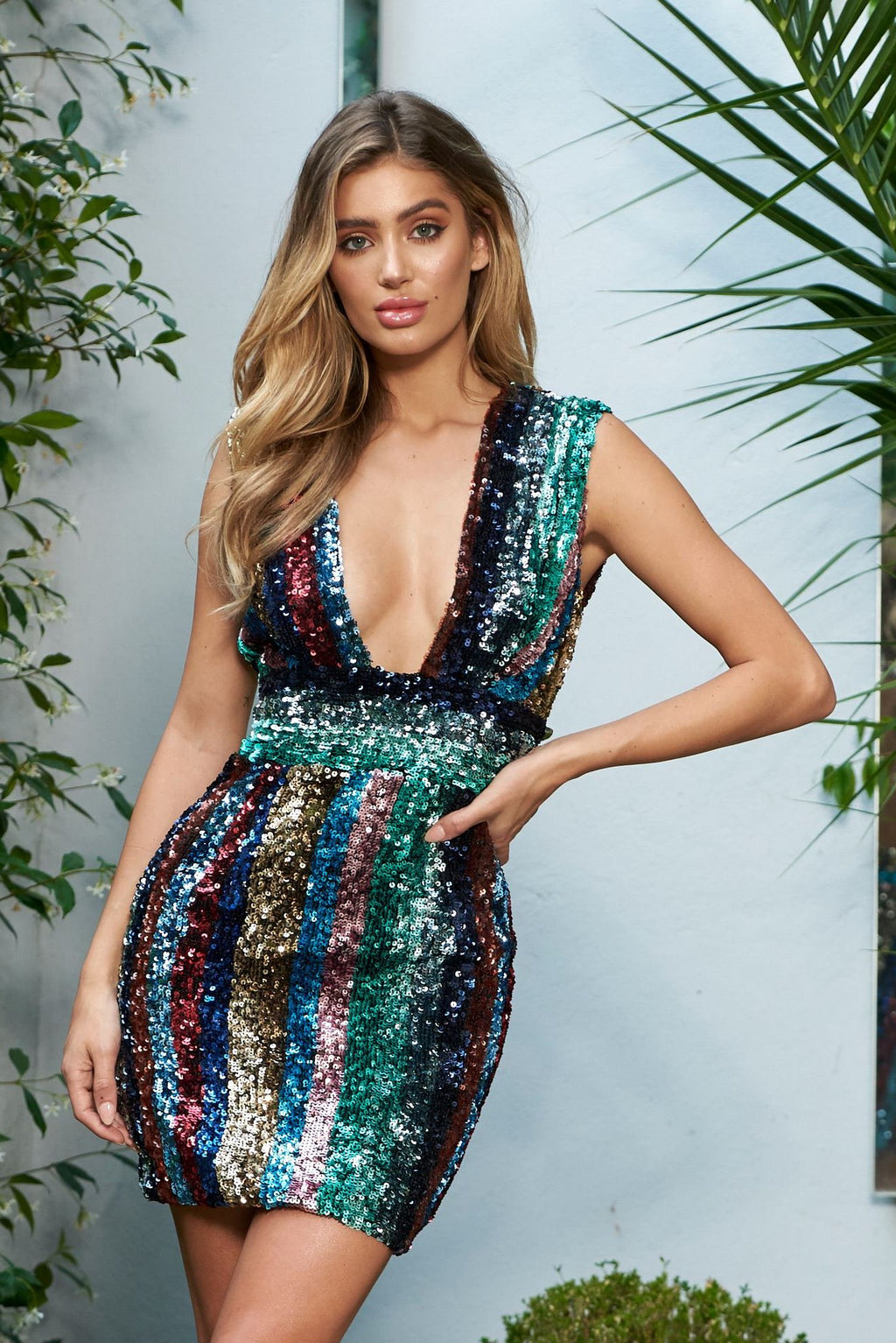 Multi Stripe Sequin Plunge Mini Bodycon Dress - Club L London