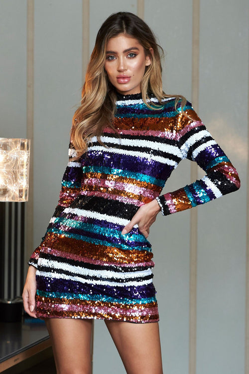 a7b7127cce Stripe Sequins High Neck Mini Bodycon Dress