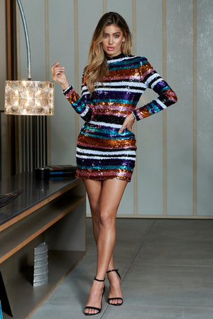 Stripe Sequins High Neck Mini Bodycon Dress - Club L London