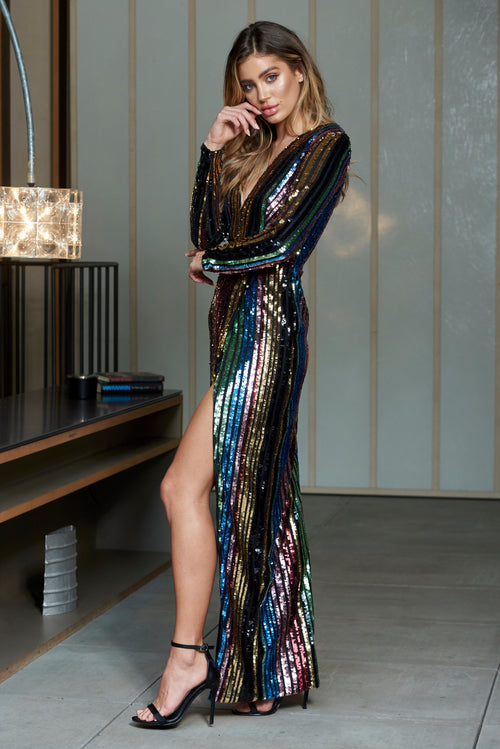 75f367f0cef8e Multi Stripe Sequin Wrap Front Maxi Dress