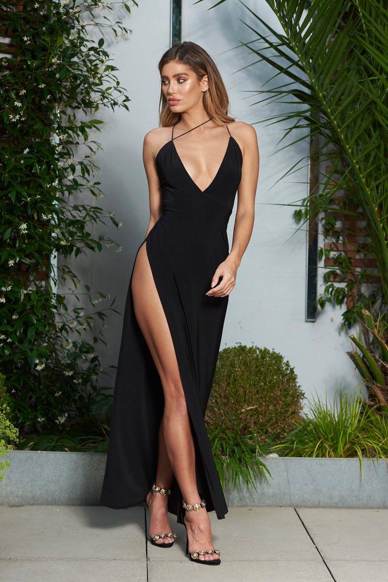 Black V Plunge Strappy Detailed Maxi Dress with High Slit