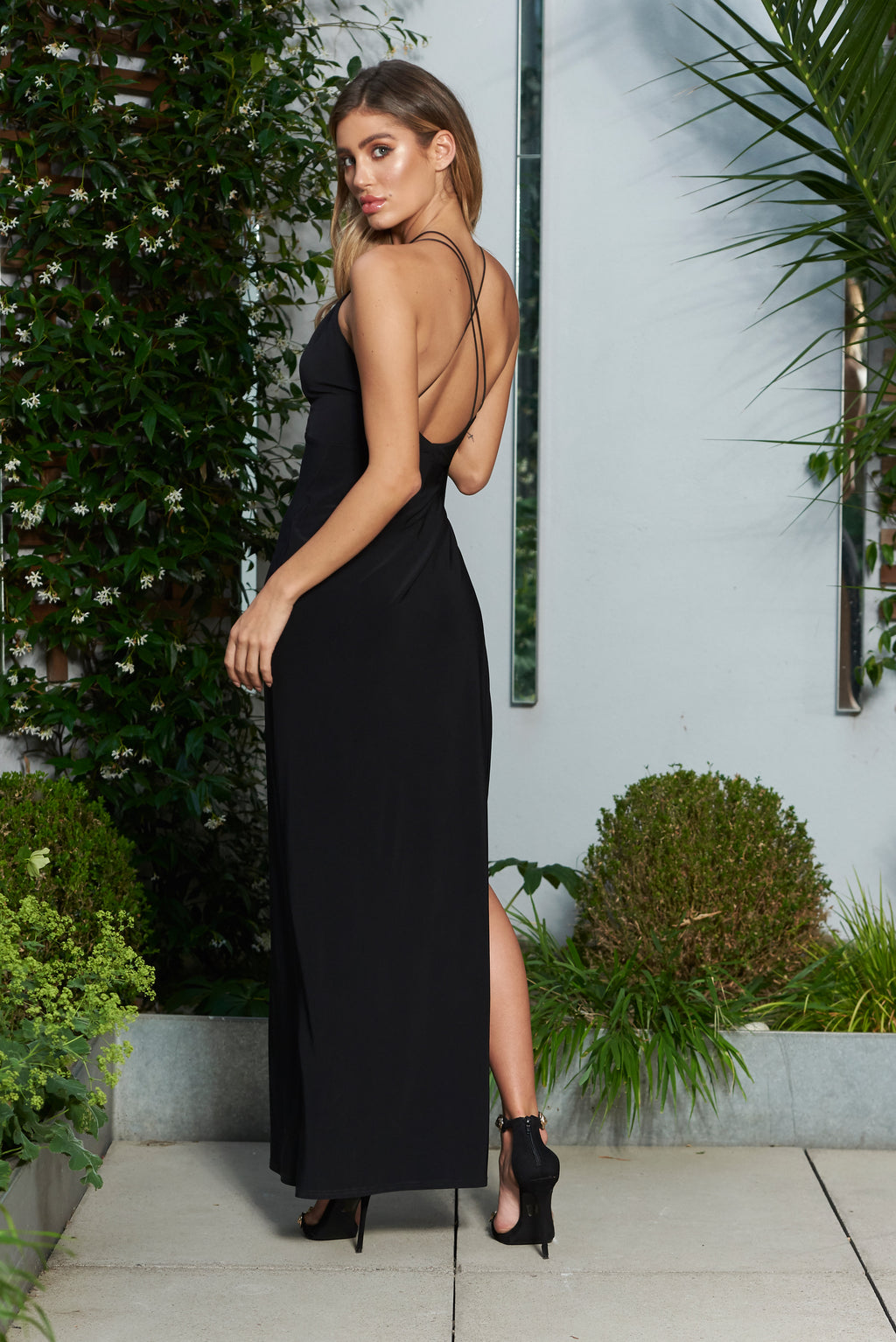Black V Plunge Strappy Detailed Maxi Dress with High Slit - Club L London