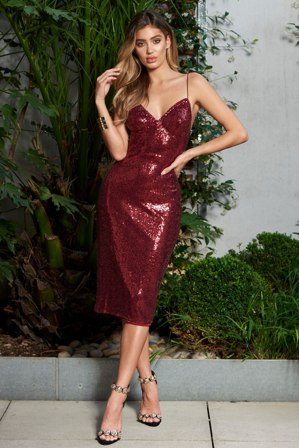 Berry Sequin Midi Cami Dress - Club L London