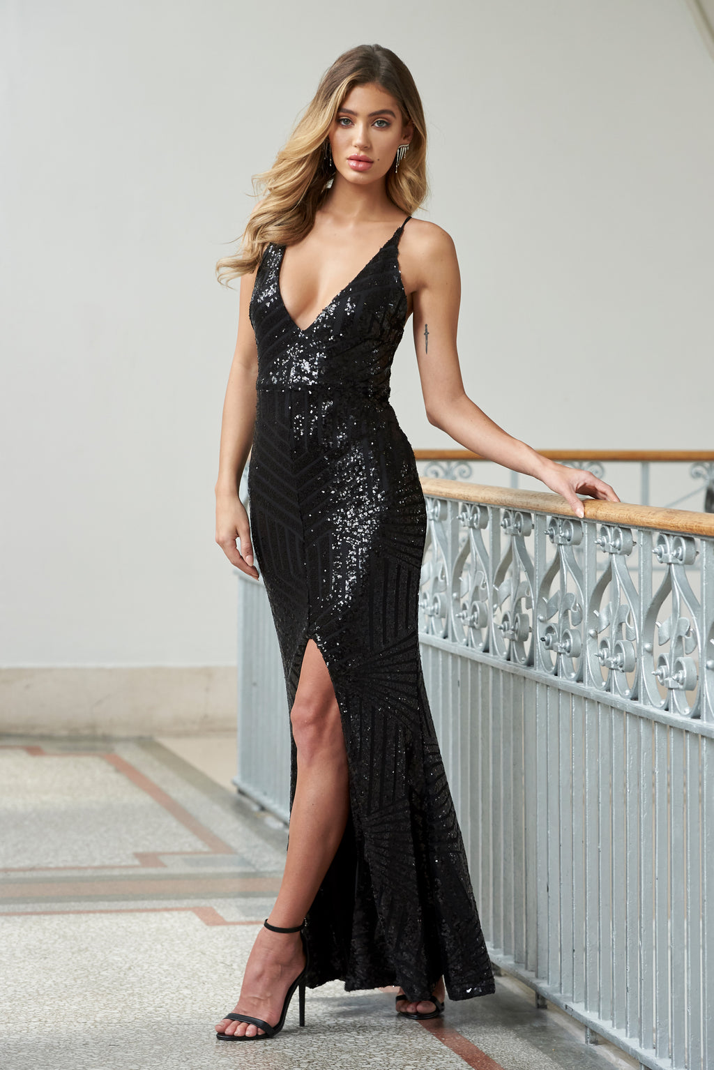 Black Geo Sequin Split Maxi Dress - Club L London