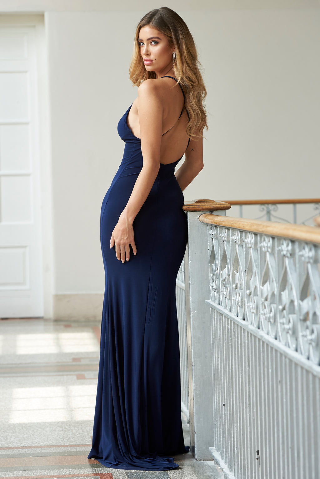 Navy Cross Back Fishtail Maxi Dress - Club L London