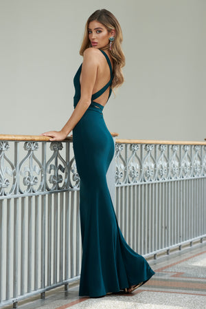 Green Strappy Cross Back Fishtail Maxi Dress - Club L London