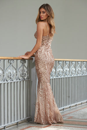 Rose Sequin Fishtail Maxi Dress