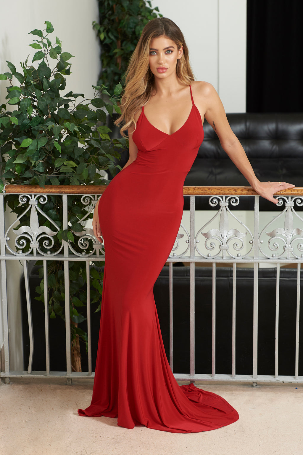 Red Cross Back Fishtail Maxi Dress