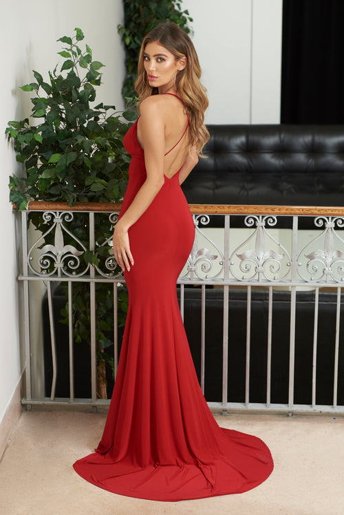 e672a313a06 Red Cross Back Fishtail Maxi Dress