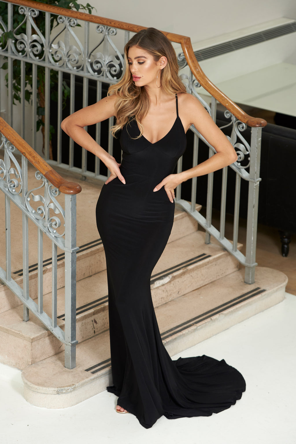 Black Cross Back Fishtail Maxi Dress