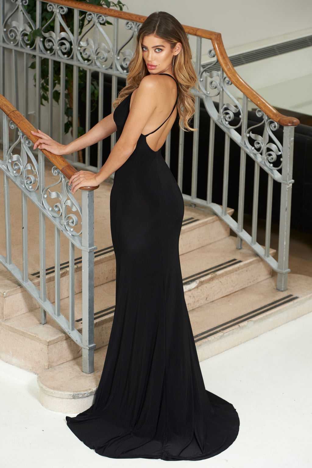 Black Cross Back Fishtail Maxi Dress - Club L London