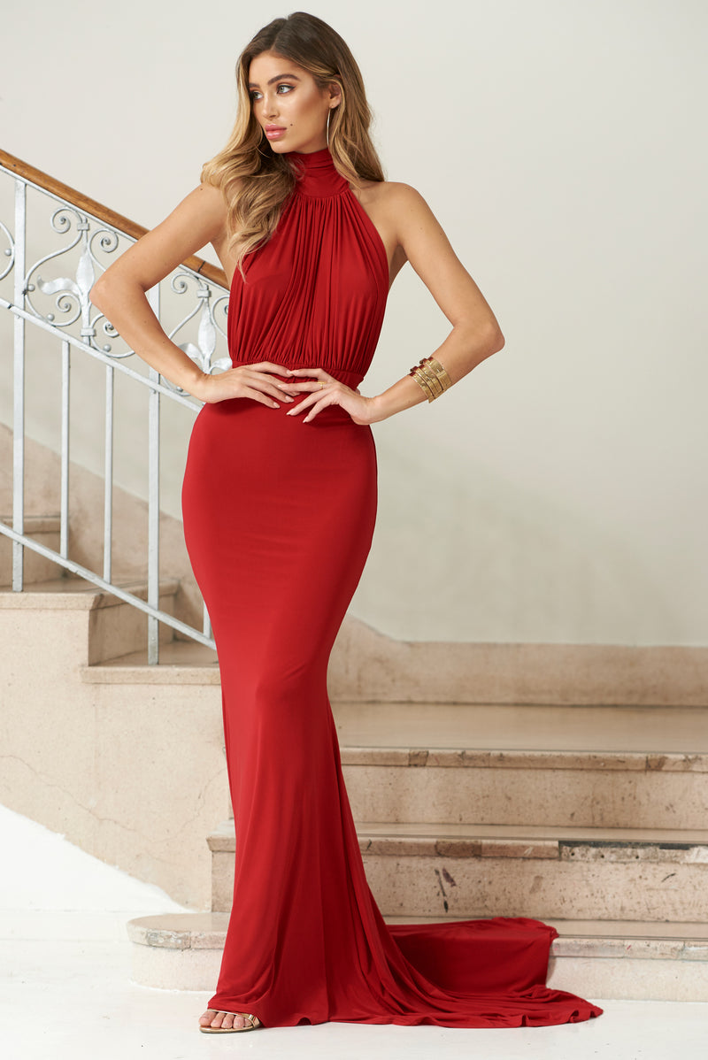Red Backless Halterneck Fishtail Maxi Dress