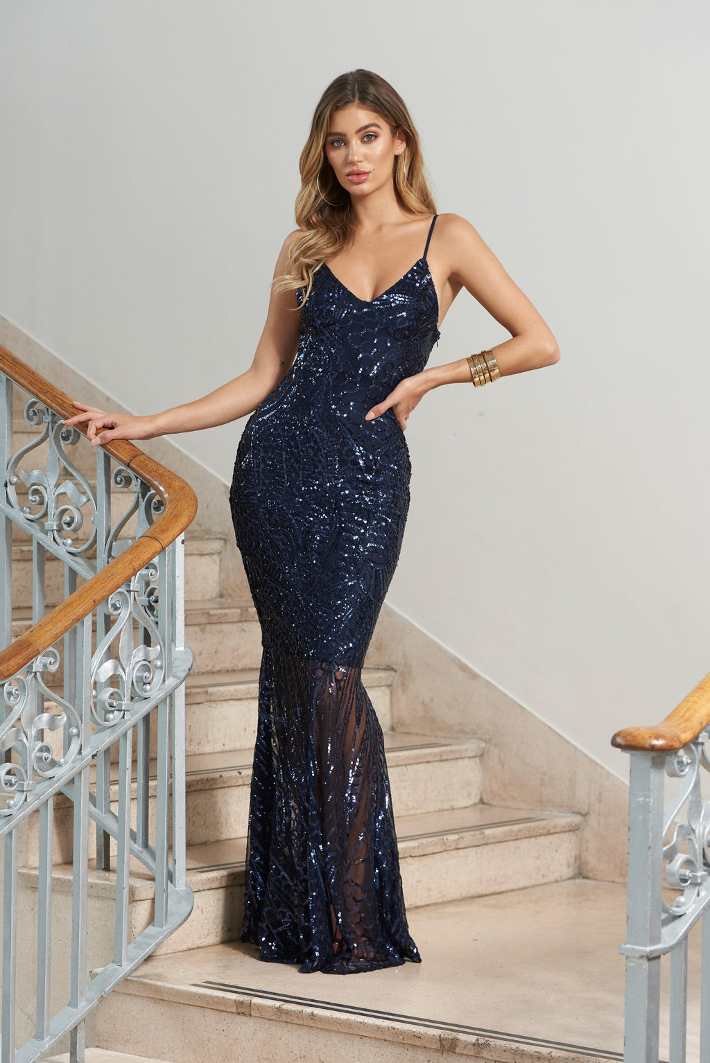 Navy Sequin Fishtail Maxi Dress - Club L London