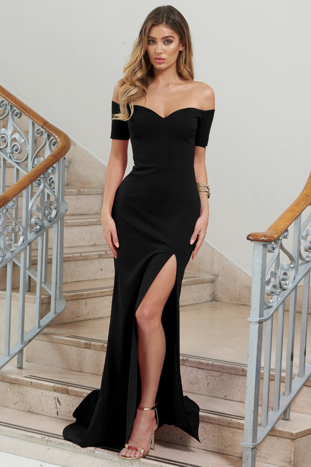 Black  Bardot Thigh Split Maxi Dress