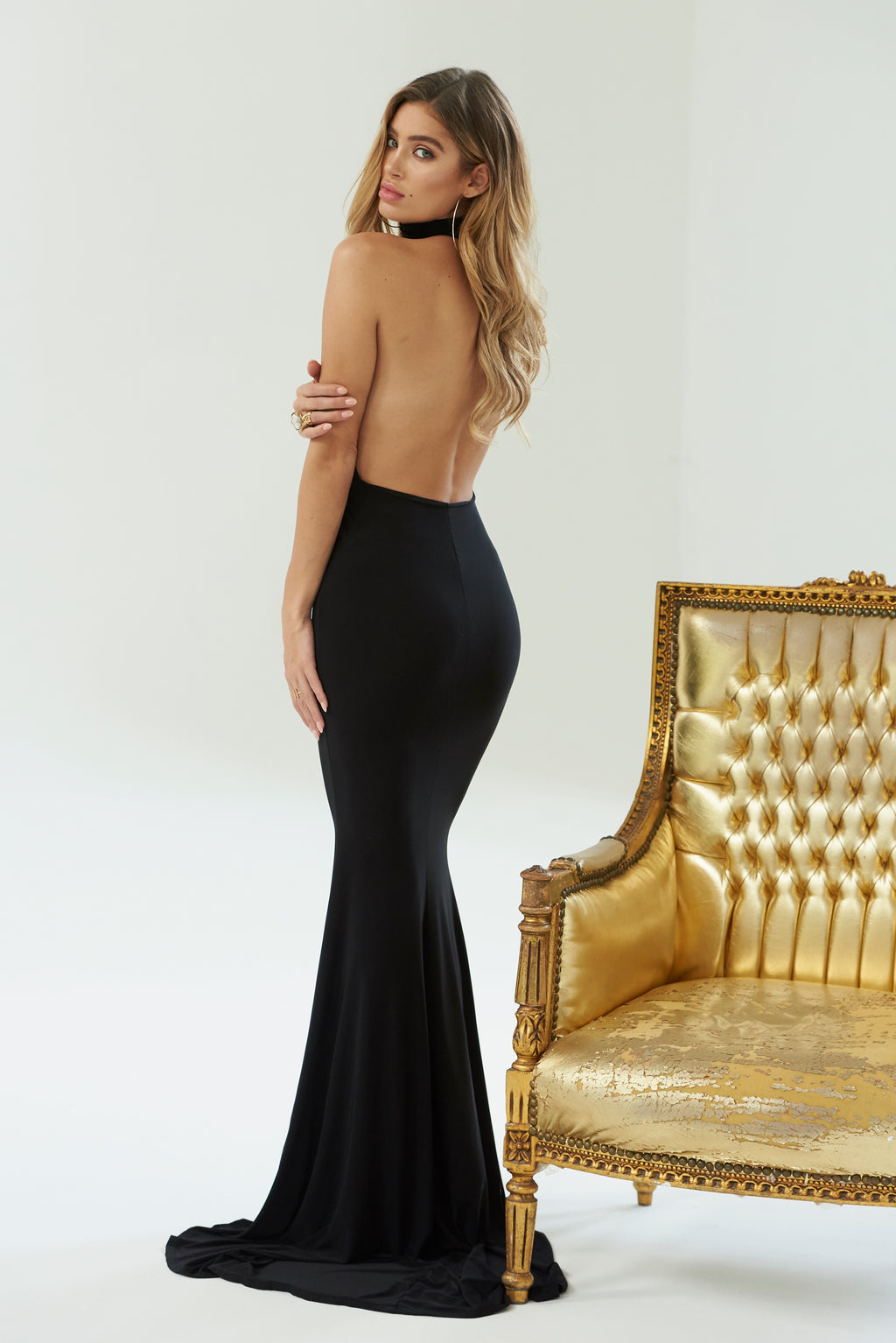 Black Backless Halter High Neck Fishtail Maxi Dress