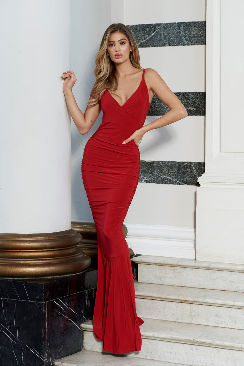 Red Plunge Neck Ruched Strappy Fishtail Maxi Dress