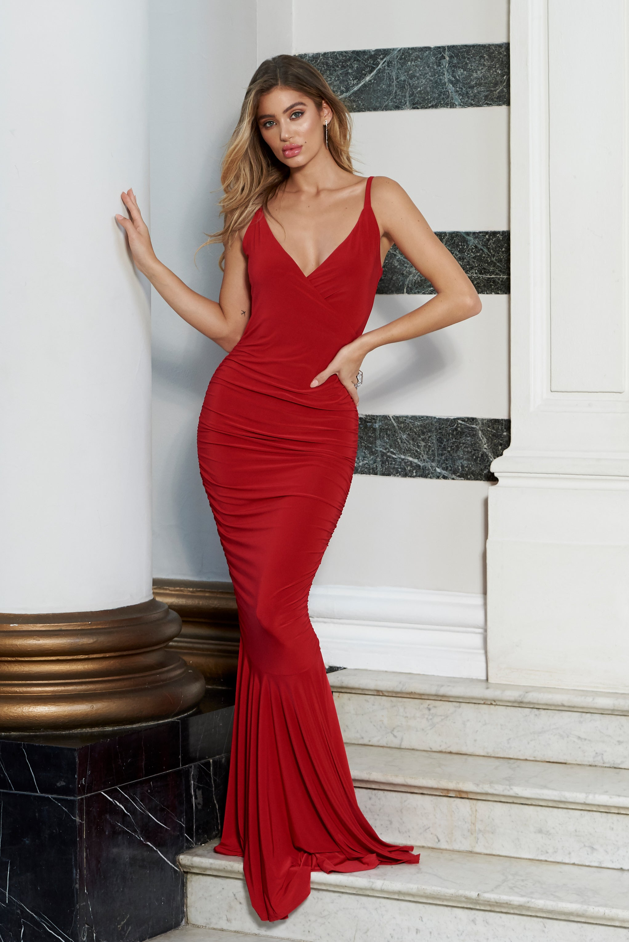 60a5dad031c4 Red Plunge Neck Ruched Strappy Fishtail Maxi Dress – Club L London