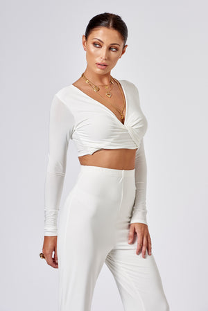 White Slinky Knot Detail Crop Top