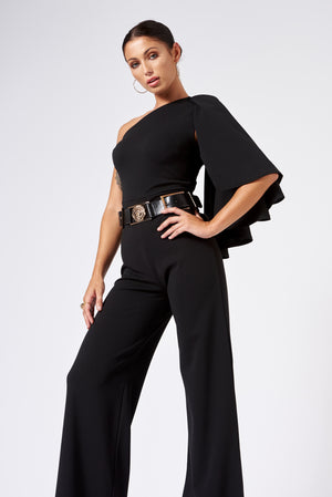 Black One Shouldered Cape Sleeve Jumpsuit - Club L London
