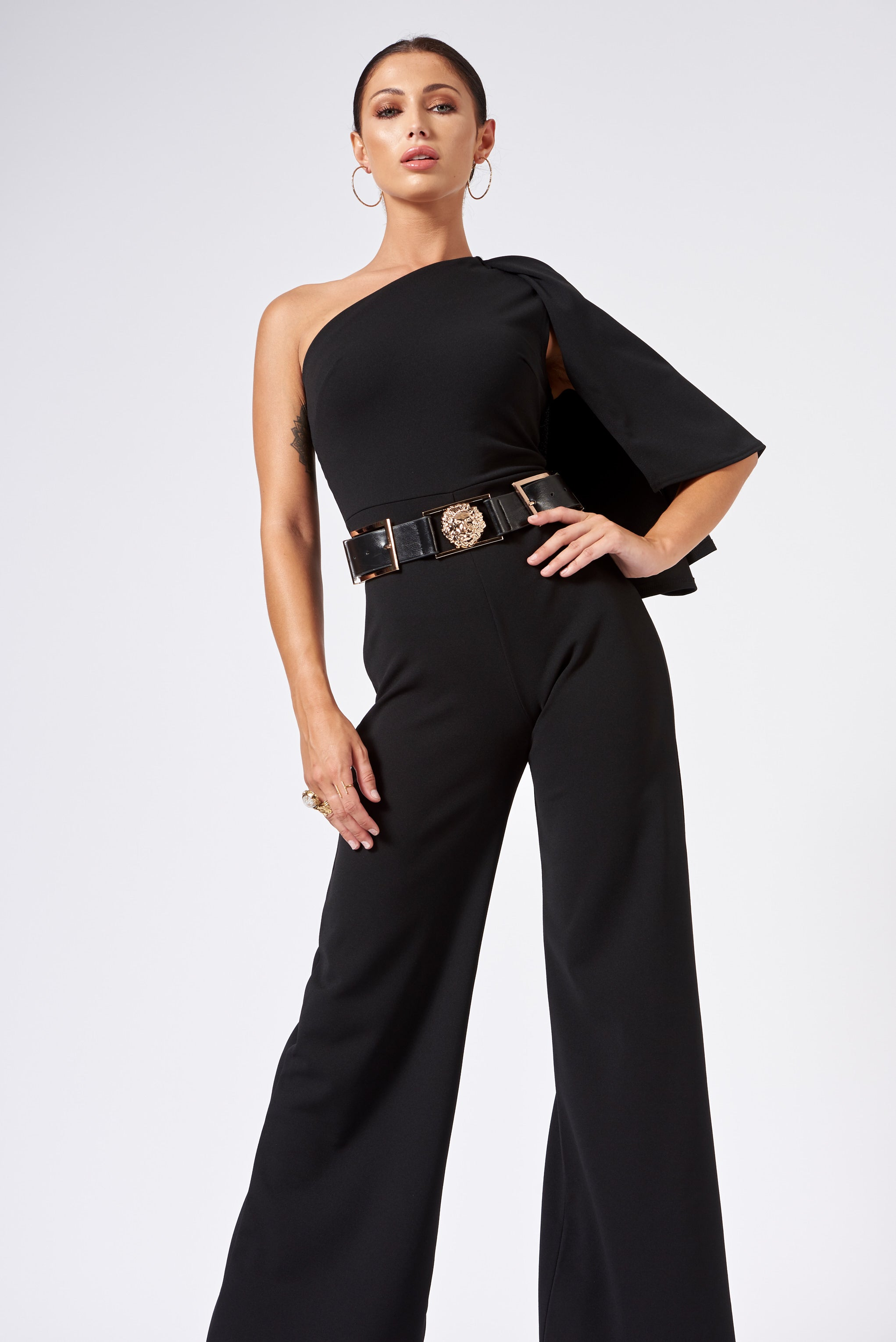 385798bfaa1 Black One Shouldered Cape Sleeve Jumpsuit – Club L London
