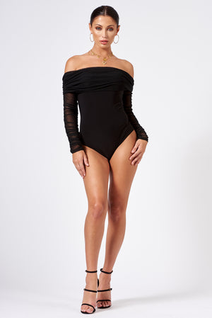 Black Ruched Mesh Bardot Bodysuit - Club L London
