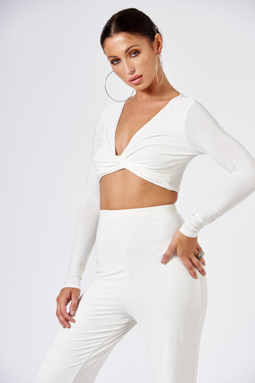 724c737192e146 White Slinky Knot Detail Crop Top