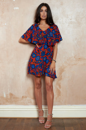 Red Floral Cape Frill Mini Skater Mini Dress - Club L London