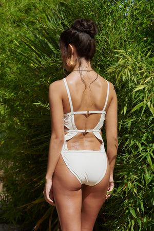 White Keyhole Cut Out Swimsuit