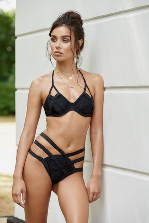 Black Cut Out Cross Front Bikini Top - Club L London