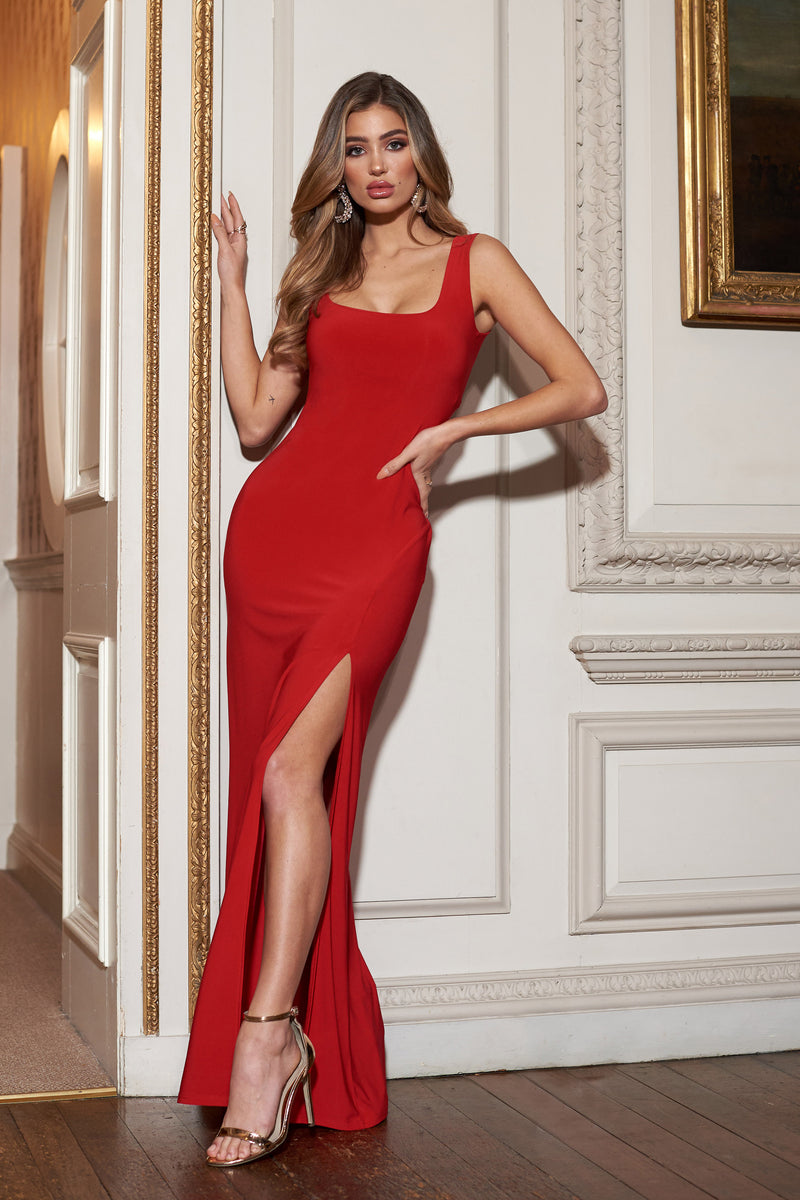Red Sleeveless Thigh Split Maxi Dress