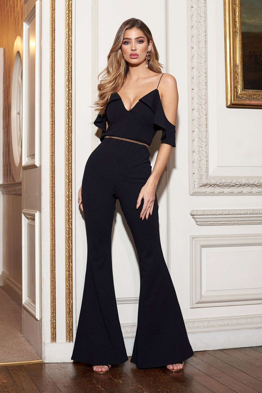 Black Frill Cold Shoulder Flared Leg Jumpsuit