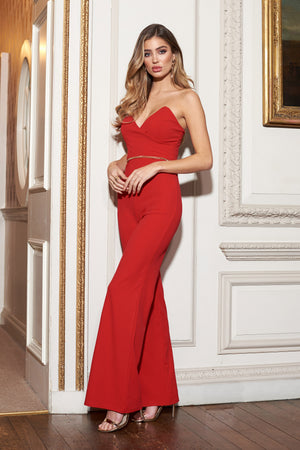 Red Bandeau Structured Jumpsuit - Club L London