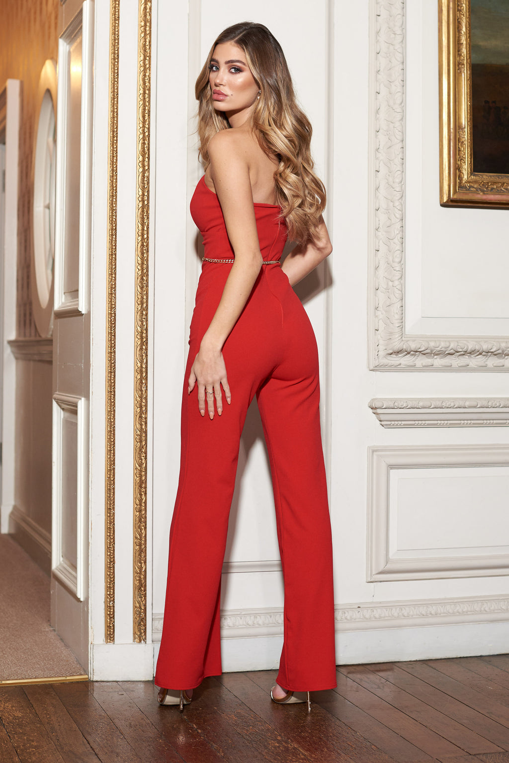 Red Bandeau Structured Jumpsuit