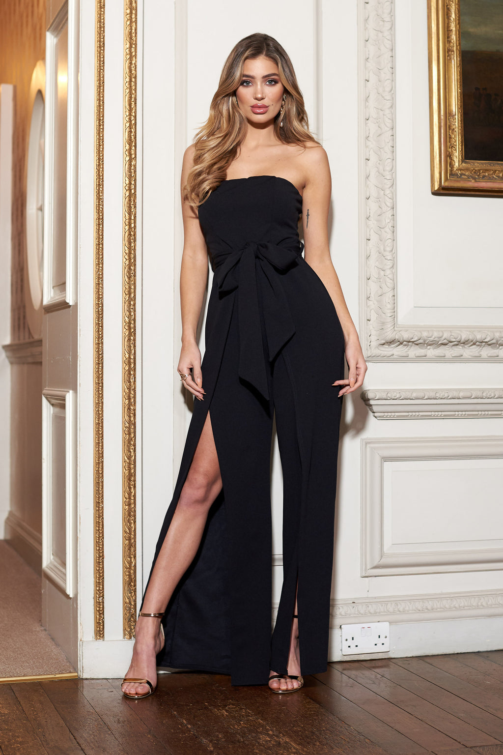 Black Bandeau Split Leg Jumpsuit