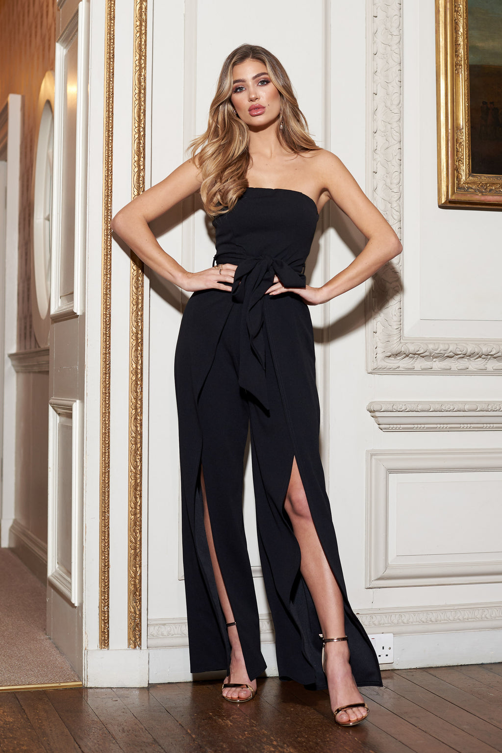 Black Bandeau Split Leg Jumpsuit - Club L London