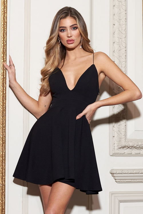 dbe0e34859 Black Strappy Plunge Neck Skater Dress