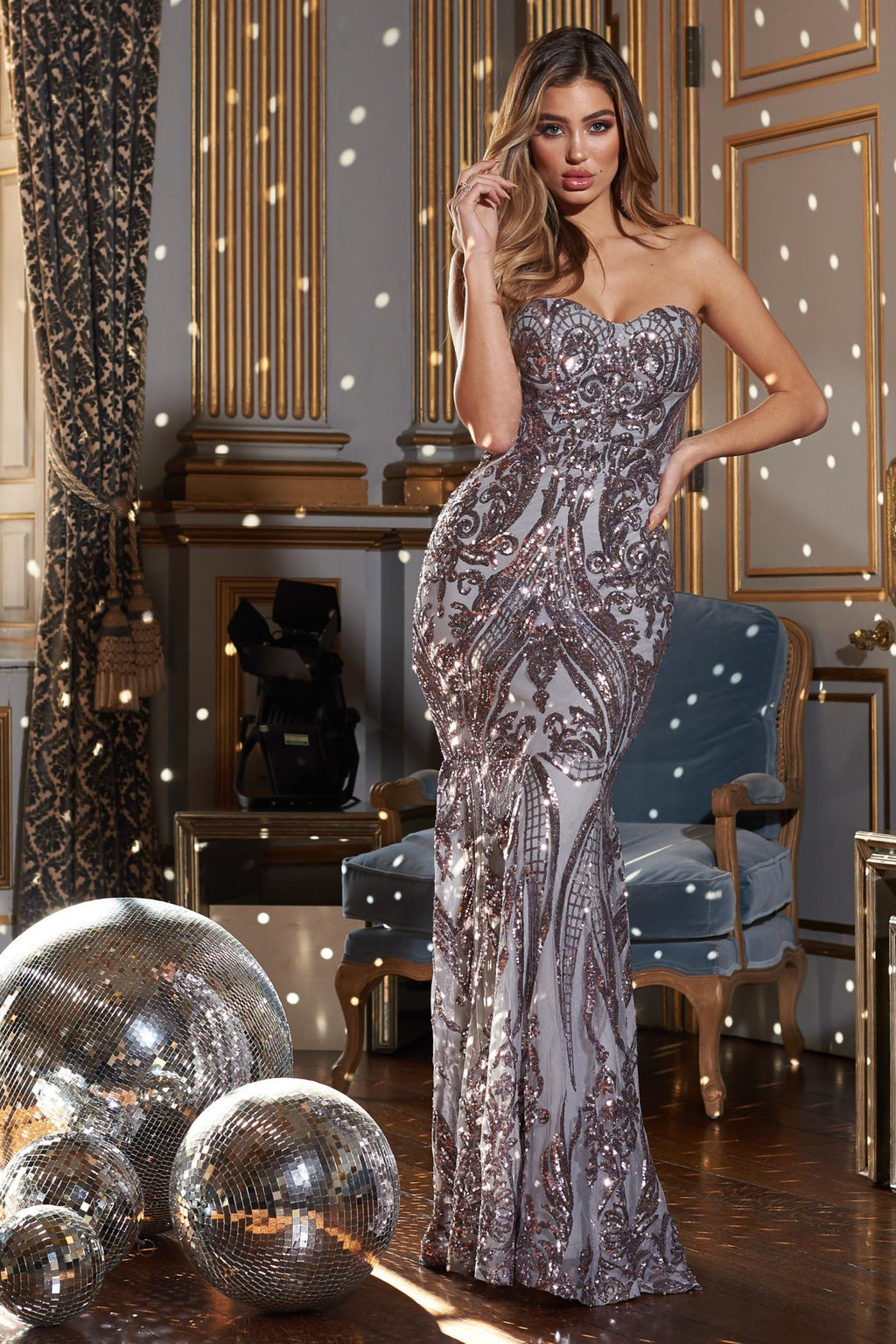 Silver Sequin Baroque Bandeau Fishtail Maxi Dress
