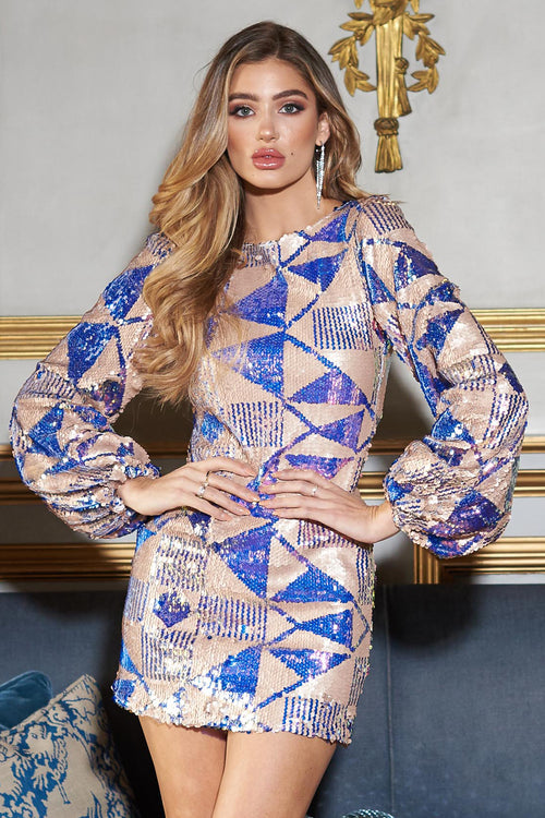 4a8cefe40aaf Multi Aztec Puffball Sleeve Sequins Mini Dress