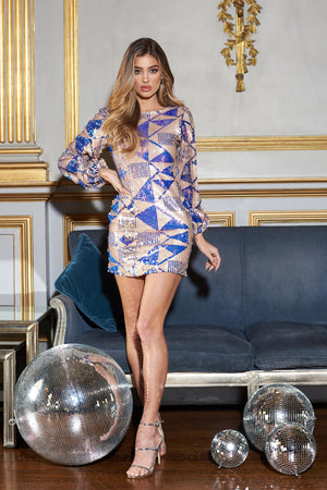 Multi Aztec Puffball Sleeve Sequins Mini Dress - Club L London