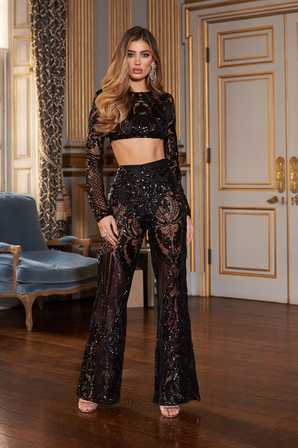 Black Baroque Geo Sequin Trousers - Club L London
