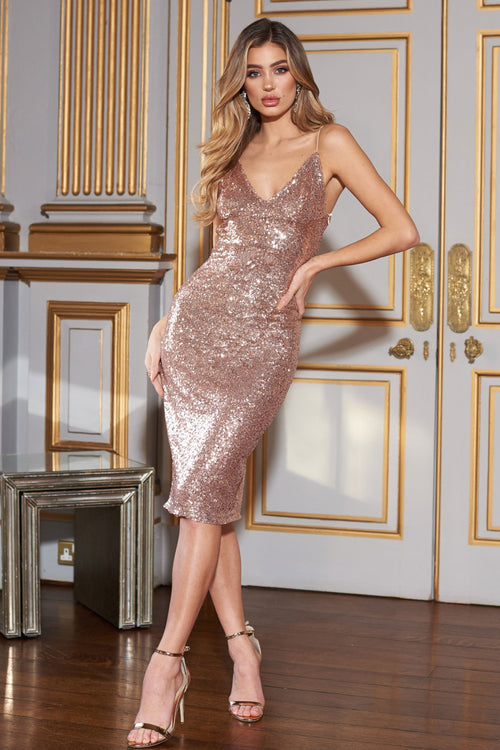 391924f670ac6 Rose Gold Sequin Midi Cami Dress