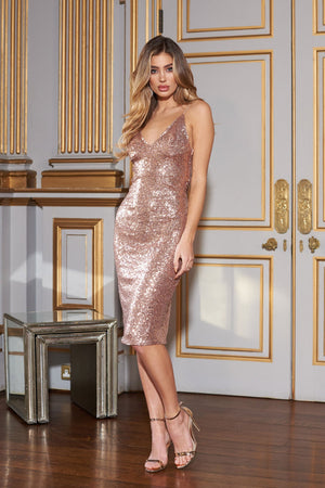 Rose Gold Sequin Midi Cami Dress