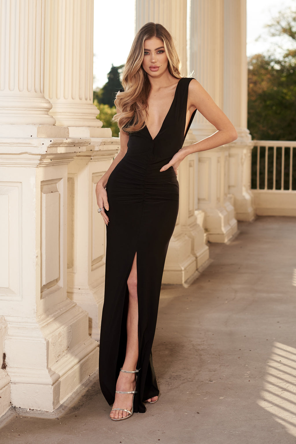 Black Plunging Sleeveless Front Split Slinky Maxi Dress - Club L London