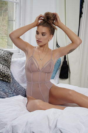 Mauve Seams Like Love Bodysuit - Club L London